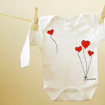 Valentine Heart Balloons on Baby Bodysuit Toddlers by BHBKidstyle