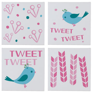 Tweet Be Sweet Wall Canvases - Set of 4