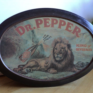 Collectible Advertising Tin Dr Pepper Soda Pop Vintage Tin Rusty Can with Lion King of Beverages Primative Home Decor Christmas Gift