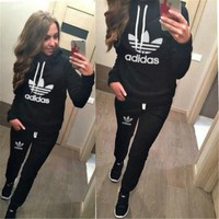 """Adidas"" Women Casual Clover Letter Print Hooded Long Sleeve Sweater Set Two-Piece Sportswear"