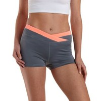 Neon Coral Wrapped Waist Workout Shorts by Charlotte Russe