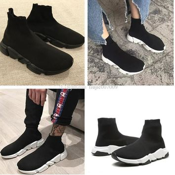 PARIS Balenciaga Original Good Quality Red Yellow Speed Trainer Casual Shoe Man Woman Sock Boots With Box Stretch-Knit Casual Boots Race Runner Cheap Sneaker High Top