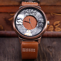 New Fashion Unqiue Metal Painting Men Watch STAR WARS Metal Sculpture Cool Creative Big Dial Black Brown Quartz Men Wristwatches