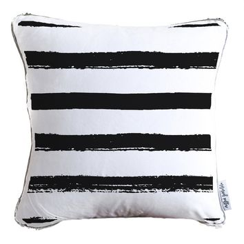 Hand Drawn Black & White Stripes Decorative Throw Pillow w/ Silver & White Reversible Sequins | COVER ONLY (Inserts Sold Separately)