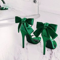 Victoria Ankle Strap Butterfly-knot Heels