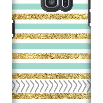 Gold and Tiffany Personalized Galaxy S6 Edge Plus Extra Protective Bumper Case