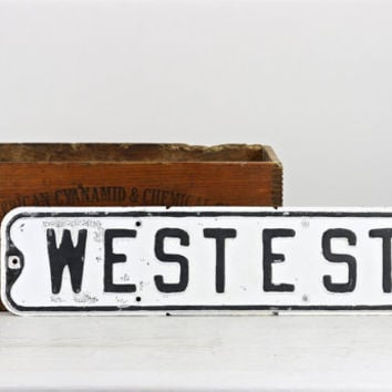 Vintage Street Sign, Metal Street Sign, Old Street Sign, West E Street, Black And White Street Sign, Industrial Decor, Old Sign, Traffic
