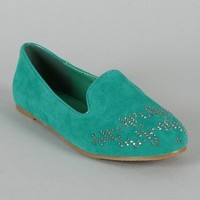 Leila-20 Suede Jeweled Round Toe Loafer Flat