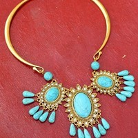 Turq and Gold Blossom Necklace