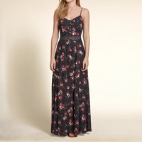 Pattern Lace Waist Maxi Dress