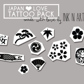 InknArt Temporary Tattoo - JAPAN SET pack tattoo collection quote wrist faux ankle body sticker fake tattoo