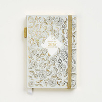 2017-2018 Gold Foil Floral On Gray Planner