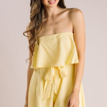 Heather Yellow Strapless Romper