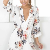Love And Dream playsuit in beige floral Produced By SHOWPO