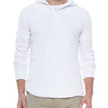 Slub-Knit Hooded Henley, White, Size: