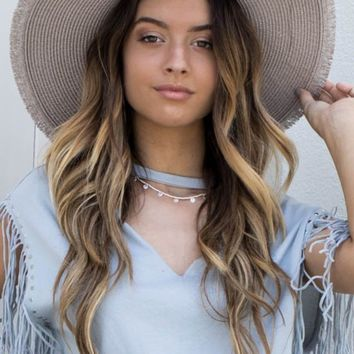 Gray Straw Hat With Gray Tassel Strap