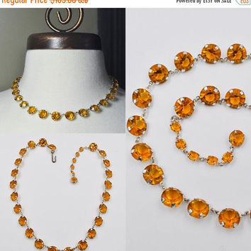 ON SALE Vintage Art Deco Silver and Amber Crystal Necklace, Bezel Set, Pointed Back, Choker, Amber Glass, So Gorgeous!  #a672