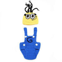 Movie Figure Minions Handmade Cotton Baby Knit Hat Clothes Costume Beanies Newborn Photography Prop (Size: 0-6m, Color: Yellow+Blue) = 1958435652