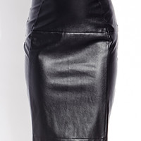 Sleek Faux Leather Pencil Skirt