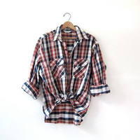 Vintage Plaid Flannel / Grunge Shirt / Button up shirt