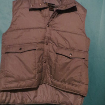 puffy vintage MEN'S QUILTED lined   Puffer grey SKI  vest by David Michael sz xlarge