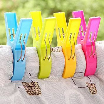 4pcs Clothes Laundry Clips Powerful Large Windproof Plastic Clothespin Sun Caught Towel Pegs Clamp Laundry Storage Organizer