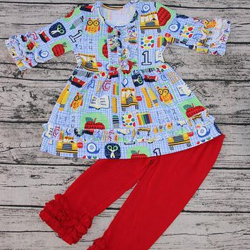 New cotton  girls boutique pencil Stationery print ruffles pants back to school clothes set lovely school outfit