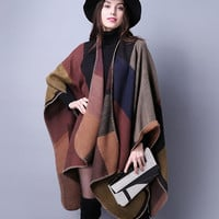 Brand Women shawl Super thick warm winter Plaid Scarf Shawl Poncho Prorsum cashmere scarf winter female Poncho bufanda manta