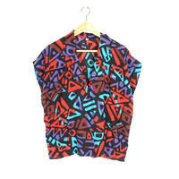 90s Geometric Shirt -- Abstract Graphic Print Top -- Colorful Short Sleeve Blouse -- Button Down Collar Shirt -- Womens M / L