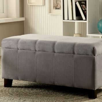 Remi collection grey padded flannelette rectangular storage ottoman foot stool