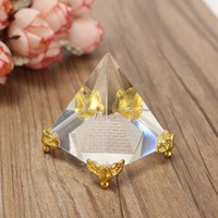 High Quality Energy Healing Small Feng Shui Egypt Egyptian Crystal Clear Pyramid Ornament Home Decor Living Room Decoration