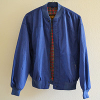 Blue & Red Plaid Bomber Jacket Oversized Vintage 90s L