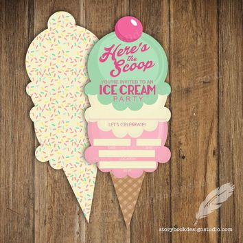 Ice Cream Cut Birthday Party Fill In Invitations