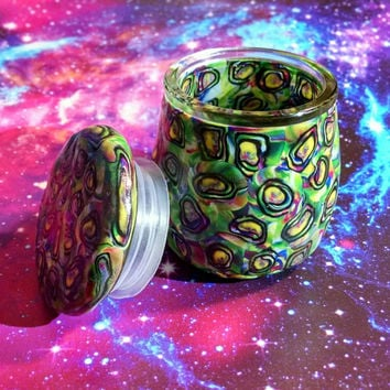 Abstract Swirls Glass Jar with Lid for Jewelry, Pills, Lotions, Etc.