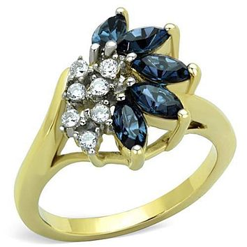 WildKlass Stainless Steel Ring Two-Tone IP Gold (Ion Plating) Women Top Grade Crystal Montana