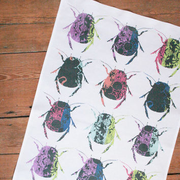 Beetle Print Tea Towel - Colourful Beetle Design Tea Towel / Dish Cloth