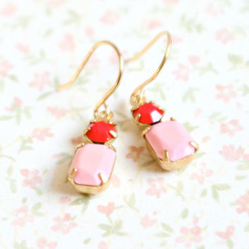 Little Pink and Red Earrings by NestPrettyThingsShop on Etsy