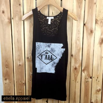 Arkansas Y'All - Women's Plus Size Black, Graphic Print Ribbed Tank Top