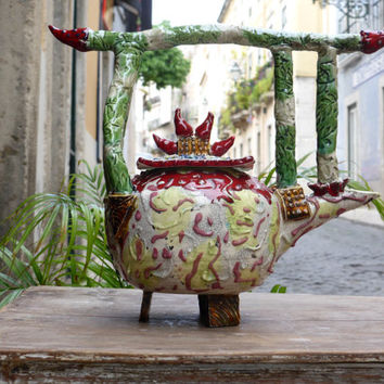 Fantastic teapot,collectible ,woodland teapot,faery teapot,Teapot gift ideas,unique tea pots,tea for two,shinto door
