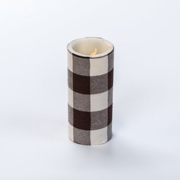6 IN LARGE BROWN CHECK PILLAR CANDLE WITH TIMER