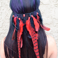Red Pheasant Feather Headband #B1052