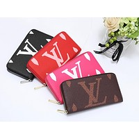 LV 2019 new female models long classic old flower simple coin purse card holder