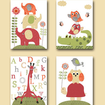 Alphabet Nursery Childrens Art Kids Wall Art Children Room Baby Room Decor Baby Print Kids Art Baby Nursery Print set of 4 8x10 Red Cream