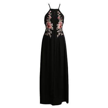 Sexy Women Long Split Dress Floral Embroidery Applique Cross Back Sleeveless Summer Beach Holiday Maxi Dress Black/White/Dark Blue