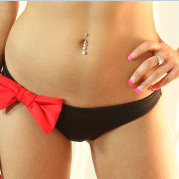Red Bow retro bikini black swimsuit