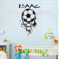E78 SOCCER BALL SKULL HEAD Custom Name Wall Decal Wall stickers boys kids room Wall Art Personalized Name Customer Decoration