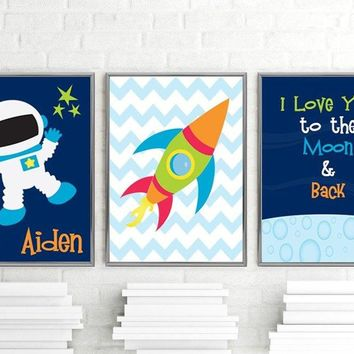 I Love You to the Moon & Back, Space Boy Wall Art CANVAS or Prints Rocket Outer Space Boy Nursery Decor, Space Quote Rocket Stars Set of 3