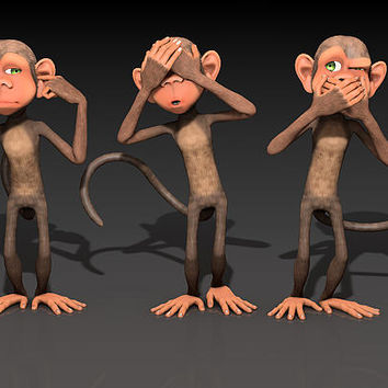 Hear No Evil - See No Evil - Speak No Evil - Three Wise Monkeys Digital Art by Liam Liberty Cute and Funny Greeting Card