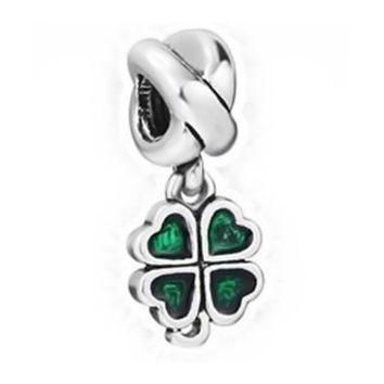 NEW Jewelry Silver plated green Bead Charm Flower Silver Bead with Crystal Fit Pandora