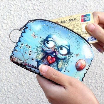 CREY8UV New graffiti cat elephant owl coin purse,Change purse card holder Handmade Hem wallets purse women clutch zipper coins bag pouch